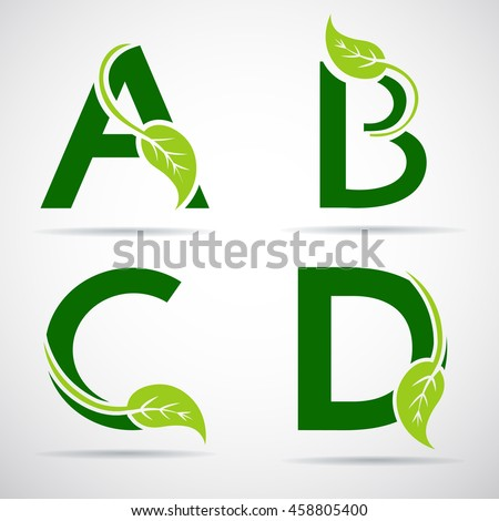 Vector green alphabet set of eco letters logo with leaves: A, B, C,D