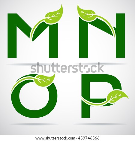 letter m logo vector green alphabet set eco letters stock vector 34129