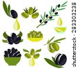vector Green and black olives set for idea of logo - stock photo