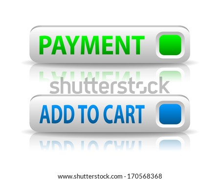 vector green and blue payment button with light shadow and reflection - stock vector