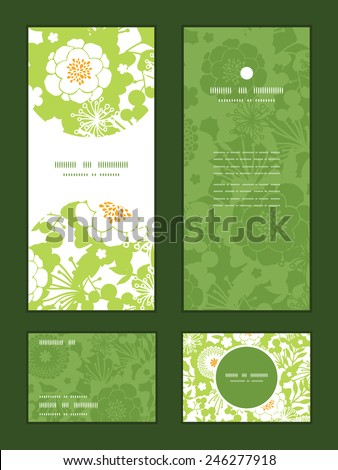 Vector green and golden garden silhouettes vertical frame pattern invitation greeting, RSVP and thank you cards set - stock vector
