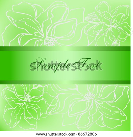 Vector green and orange flower post card - stock vector