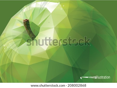 Vector green apple background. Low-poly triangular style illustration - stock vector