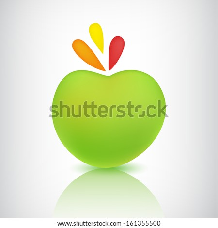 vector green apple icon isolated with shadow and reflection, logo - stock vector