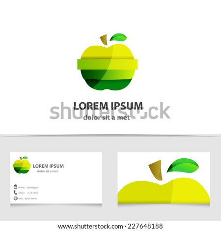 Vector green apple logo isolated. Creative template business card - stock vector