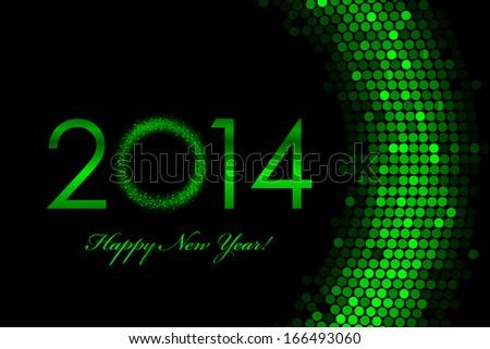 Vector 2014 green background - Happy New Year - stock vector