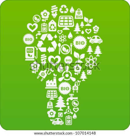 Vector green background with light bulb consisting of ecology icons - stock vector