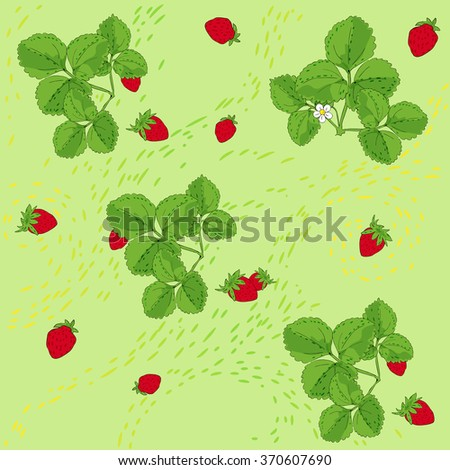 Vector green background with  strawberry plants and fruits  - stock vector