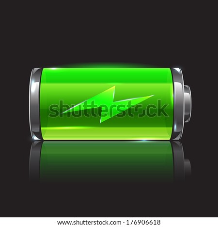 Vector green battery, full charge with lighting - stock vector