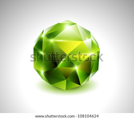 vector green beautiful gemstone - stock vector