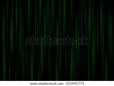 Vector : Green binary number on black background