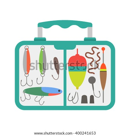 vector green blue slim design fishing tackle box transparent illustration isolated white background