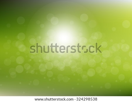 Vector green blurred circle abstract background with bokeh light circles - stock vector