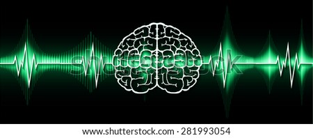 vector green brain processes technology, creative idea concept. wave. ecg, ekg, electrocardiogram. - stock vector