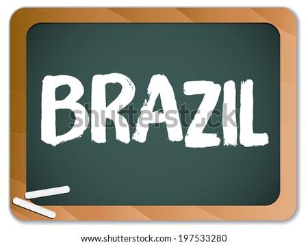 Vector - Green Chalk Blackboard Brazil - stock vector