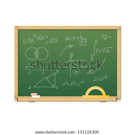 Vector green chalkboard with mathematics symbols for background - stock vector
