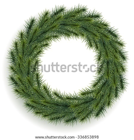 Vector green christmas wreath. EPS 10. - stock vector