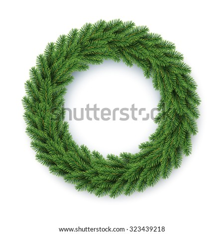 vector green christmas wreath, global colors - stock vector