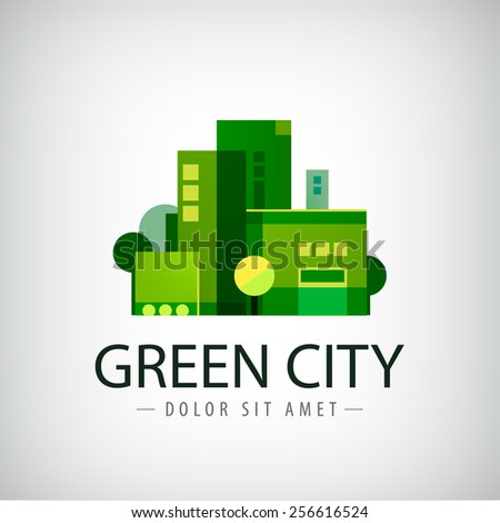 vector green city, buildings, eco icon, logo isolated - stock vector