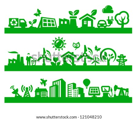 vector green city icons set on gray - stock vector