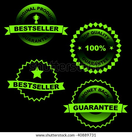 Vector green collection of sale signs