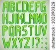 Vector green 3d font ABC a-z - stock vector