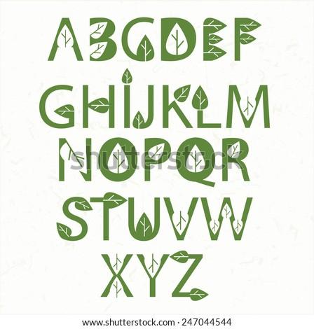 Vector green eco alphabet  - stock vector
