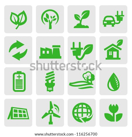 vector green eco energy icons set on gray - stock vector
