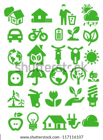 vector green eco icons set on white