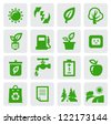 vector green eco symbol icons set on gray - stock vector