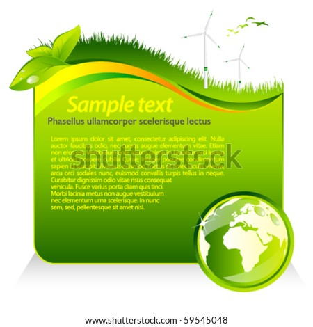 Vector green eco template with globe - stock vector