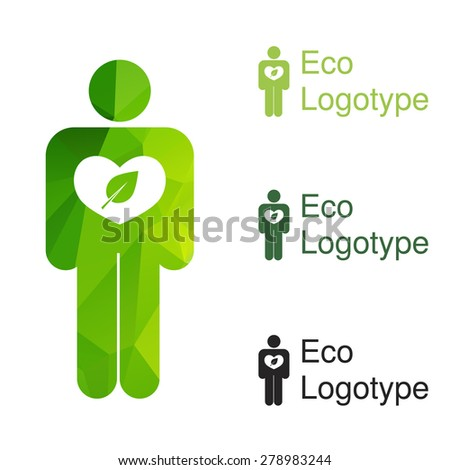 Vector green ecology logo or icon in eps, nature logotype of human with ecology heart - stock vector
