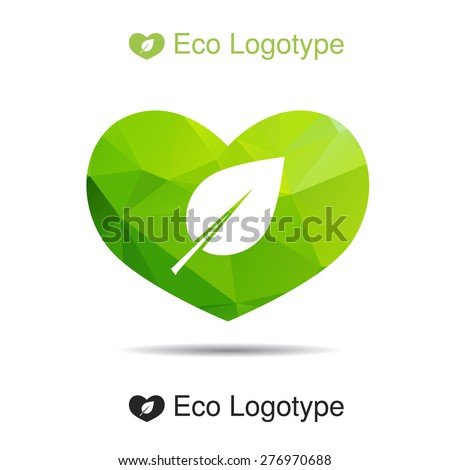 Vector green ecology logo or icon in eps, nature logotype with heart - stock vector