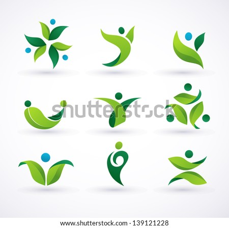 Vector green ecology people icons and symbols - stock vector