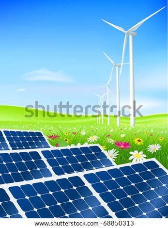 Vector green energy field with turbines and solar panels - stock vector