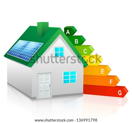 Vector green energy home - stock vector