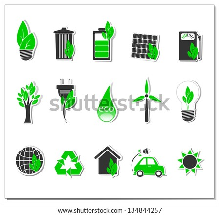 Vector green energy icons