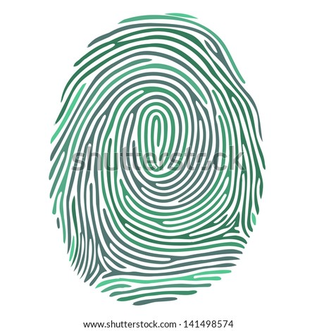 Vector green fingerprint on white background - stock vector