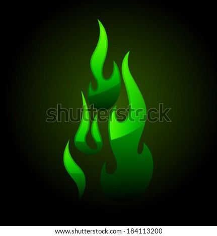 Vector green flame and glare - stock vector