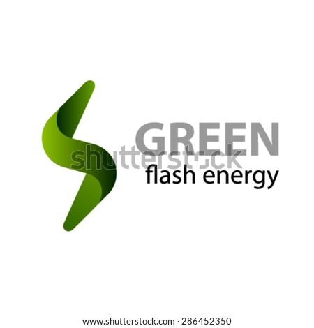 vector green flash energy icon - stock vector