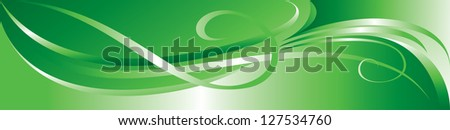 Vector green flourish background for you design - stock vector