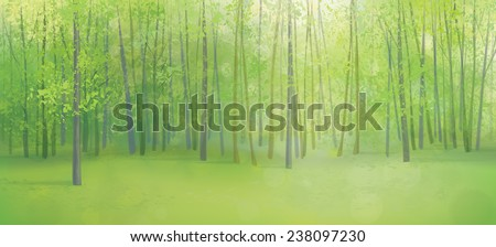 Vector green forest landscape. - stock vector