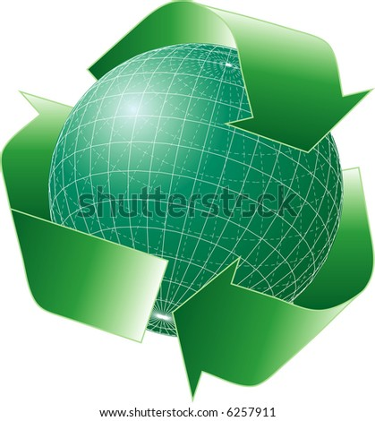 vector green globe with recycling sign
