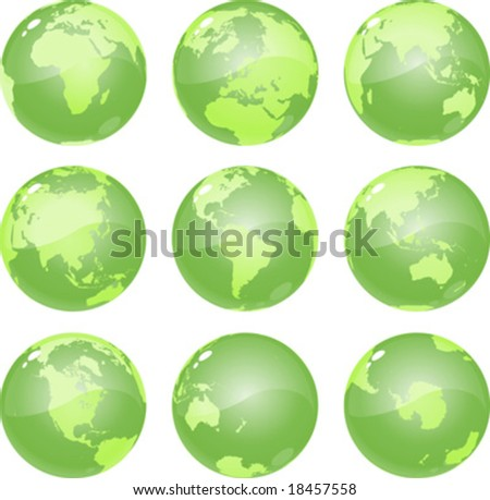 vector green globes glossy and metalic, showing nine views of planet earth, including all continents