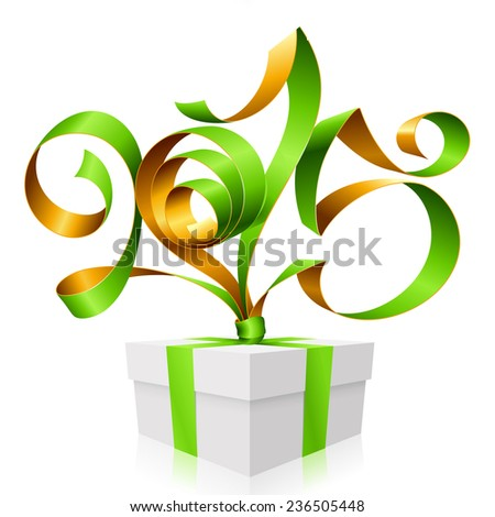Vector green golden ribbon in the shape of 2015 and gift box. Symbol of New Year - stock vector