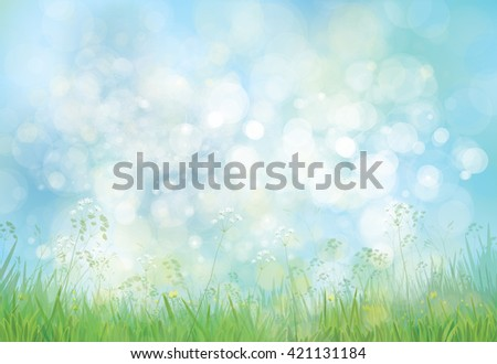 Vector green grass  and flowers border on bokeh, blue  background. - stock vector