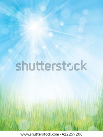 Vector green grass border on bokeh, blue  background. - stock vector