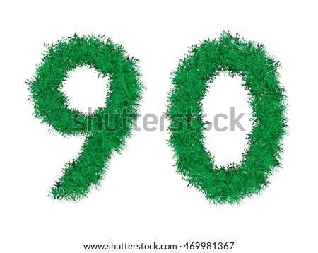 Vector green grass number letters.