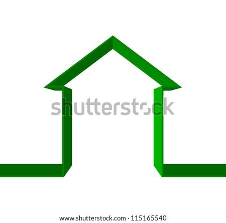 Vector green house icon - stock vector
