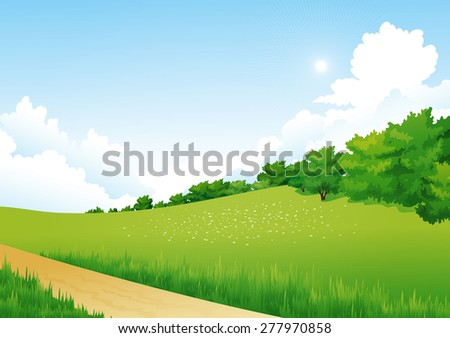 Vector Green Landscape with trees, clouds, flowers. Summer meadow.
